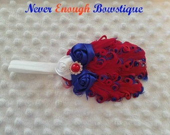 Patriotic July 4th Red  Blue Nagorie Feather Headband made to fit your little princess