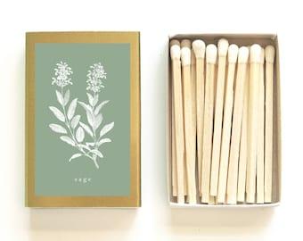 Sage Botanical Matchbox - Herbal Print Matches - Tiny Gift - Pair with a Candle - Wedding Matchbox Favors - Light a Gardening Spark