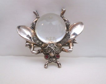 Vintage Trifari, Alfred Philippe, Lucite Fly Jelly Belly, Sterling Silver,Vermeil,Collectable,Pat Pending,Signed