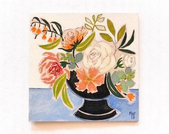 """Pintura original, arte, Floral pintura, pared decoración arte, MAF, 12 x 12"""" pintura. """"Córdoba"""""""