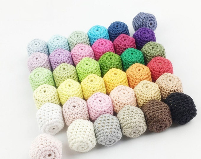 Crochet Beads Geometric Hexagons Natural Organic Mix 20mm for Baby Teething Mom Jewelry DIY Necklace, Bracelet for You, Sister, Mother Gift