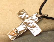Sterling silver Cross Necklace with black cord.. Personalized Handmade Cross.. Men's / Women's Cross pendant .