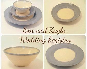 Wedding Registry Pottery; Handmade Pottery Dishes; Pottery Dinnerware; Wedding Registry Place Setting