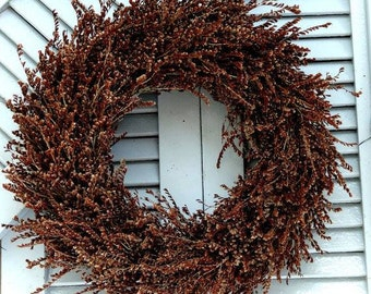 Brown Statice Wreath - Fall Wreath- Wreath For Door- Hanging Wreath - Home Decoration