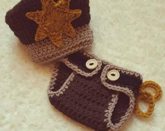 Crochet Baby Deputy/Sheriff Set - MADE TO ORDER - Brown & Tan