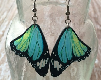 butterfly wing earrings moth bug insect charm monarch blue green teal