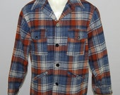 Vintage 1960's Pendleton 100% Wool Blue/Gray/Brown Button Front Jacket Men's Size Large