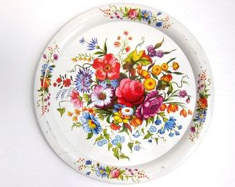 Elite White Floral Metal Tin Serving Tray - Wildflowers Shabby English Tea Time