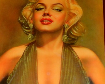 Vintage Decoupage Picture Of Marilyn Monre In 1987