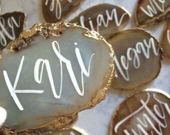 Brazilian Agate Wedding Place Cards //  Calligraphy Seating Cards, Wedding Favor, Wedding Gift