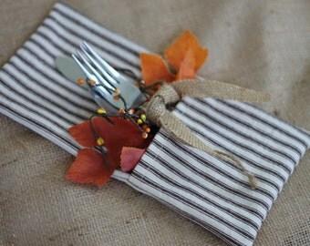 Set of 4 brown ticking stripe silverware holder  , Thanksgiving tableware,Fall stripe utensil holder, rustic wedding, country wedding