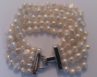 real fresh water pearl five strand bracelet