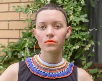 Festival collar - orange and indigo