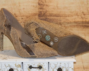 Enthralling Wedding Shoes - Rustic Wedding - Burlap Wedding - Womens Shoes - Burlap And Lace - High Heels - Ladies Shoes - Gifts For Her