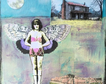 French Butterfly Girl and the Moon Original  Multi Media Acrylic Painting