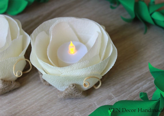Rustic Flower LED Light Holders- Set of 6, Rustic Wedding Decor, Table Flower Light, Wedding Table Decor, Country Rustic Wedding Centerpiece
