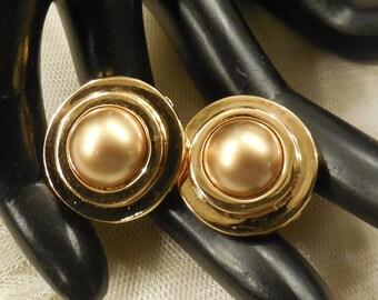 Vintage Carolee Golden Simulated Pearl Earrings