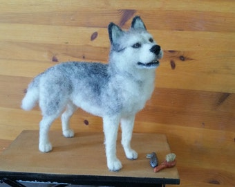 Needle Felted Husky, OOAK by Chicktin Creations