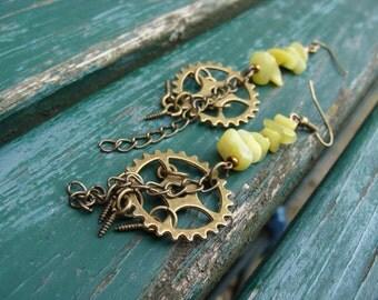 Steampunk Nature - Earrings with green jade, bronze, long, dangling