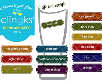 Life is Brewtiful Drink Markers~Craft Beer Themed Drink Markers~Beer Markers~Funny Beer Gift~Beer Charms~Beer Favors~Clingks Drink Markers
