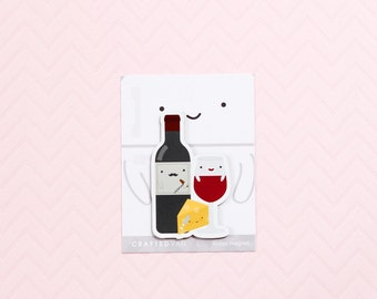 Wine and Cheese Fridge Magnet