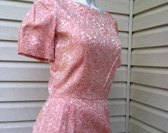1950's vintage Pink Brocade party dress New Look/50's pink mini party dress atomic/50's pink brocade party dress short size small