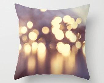 Bokeh Lights Pillow Design, Abstract Photography, Christmas gift, Fairy Lights, Yellow, Pillow Photography, Home Decor, House warming gift