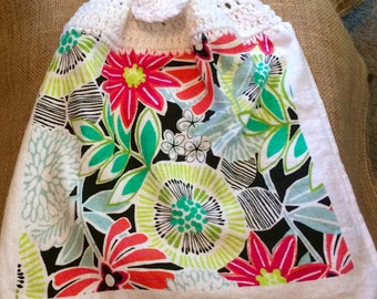 Flowers and Leaves Crocheted Top Towel  (R35)