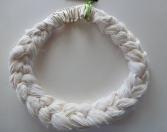 A Sari Silk Braided Headband in soft and supple creamy white silk chiffon - so light and airy; weightless to wear!