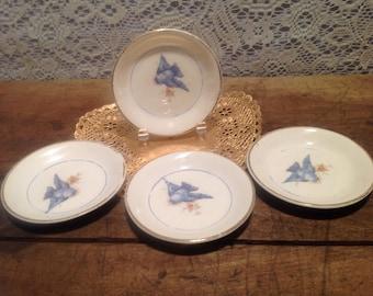 Vintage Bluebird Pattern Butter Pat