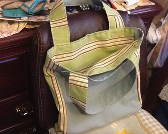 Dark Olive and  striped tote bag
