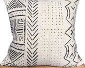 """African Mud Cloth Pillow Cover 20"""" inch White"""