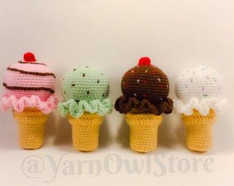 Ice Cream Cone Baby Rattles