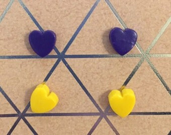 Purple and Yellow Tiny Heart Shaped Stud Earrings