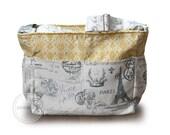 Large Paris diaper bag / grey Paris knitting bag / grey paris tote bag / grey and yellow diaper bag