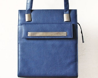 80s Blue Leather Woman Handbag, Large Shoulder Everyday Purse, Shoulder Straps Leather Vintage Bag
