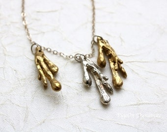 Metal Drops Silver and Brass Necklace *Unique Mixed Metal Handmade Necklace* Ready to Ship Necklace *Lucky Three Charm Necklace