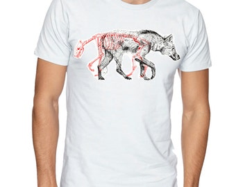Wolf and Shadow Hand screen printed t shirt