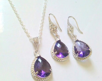 bridesmaid set of 7,bridesmaid gif set of 7, amethyst purple jewelry set, amethyst purple necklace and earrings set, crystal glass jewelry