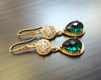Emerald green earrings,emerald green gold earrings,crystal earrings,bridal earrings,weddings earrings,bridal wear jewelry,bridesmaid gifts