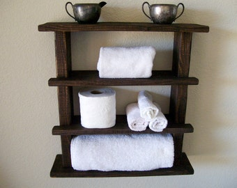 Rustic Bathroom Shelves Towel Rack Wood Shelf Bathroom Shelf Rustic Wall  Shelf Storage Organization Toilet Paper