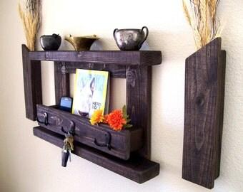 wood shelf rustic entryway organizer mail organizer wall shelf key rack coat rack hat rack coat