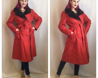 Vintage 1970's Red Coat with Faux Fur Lining