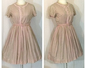 Vintage 1950's Pink and Green Gingham Shirtwaist Dress with Front button Detail