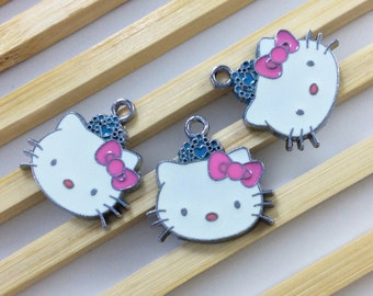 10  pcs kitty Charms ,Hello kitty pendant colors enamel  20mm *20m