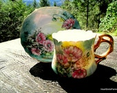 Lefton Green and Pink Floral Tea Cup - Lefton Poppy Flat Cup and Saucer - 1950s Japan Made Tea Cup