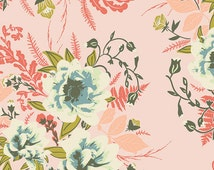 """Forest Floor Fabric from Art Gallery """"Wild Posy Flora"""" by Bonnie Christine. Pink Floral Fabric. 100% cotton. FOR-47700"""