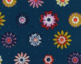 "Picnic by Melody Miller @ Cotton + Steel ""Enamel Flowers Teal""  Flowers on Dark Blue with Teal Diamonds. 100% Cotton."