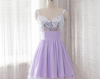 sequins short prom dress, Lavender homecoming dress, Sweetheart evening dress