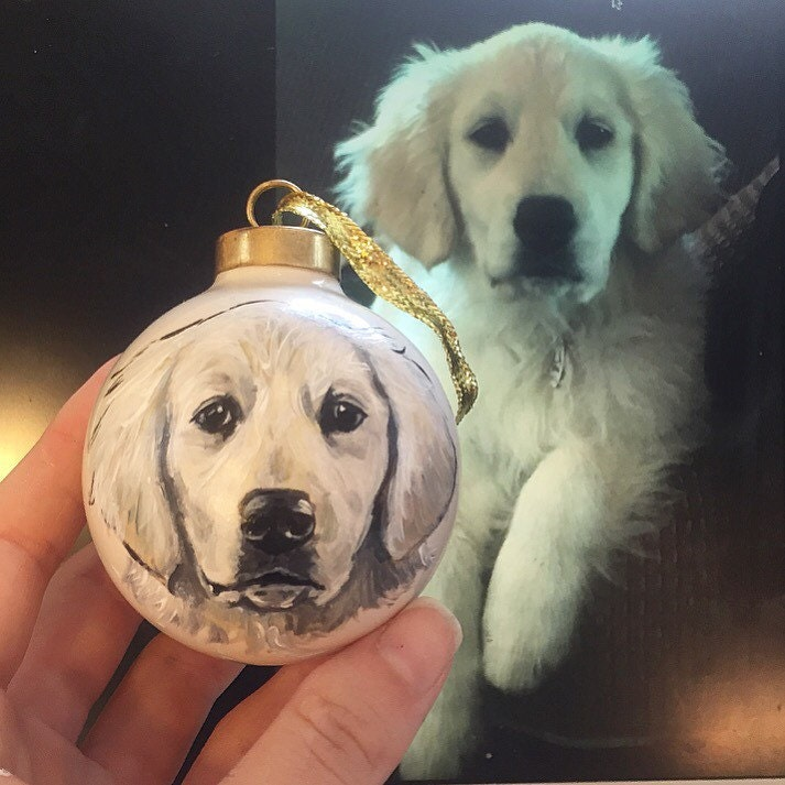 Golden Retriever ornament - hand painted from your photographs.